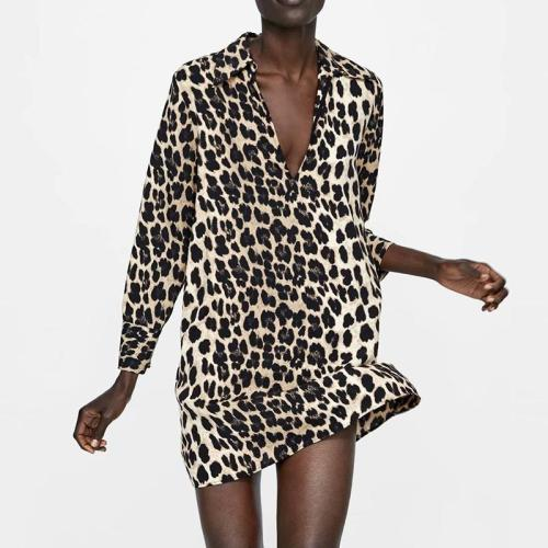 Sexy Deep V Neck Leopard Printed Long Sleeve Casual Dress