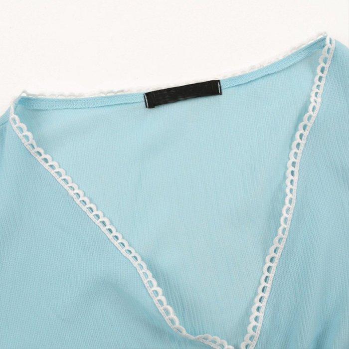 Sexy V Collar Long Sleeve Blouse