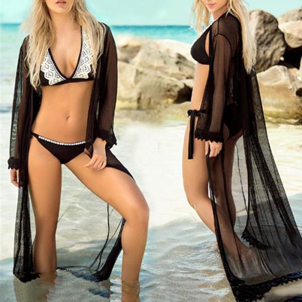 Mesh Beach Clothing Seaside Holiday Bikini Long Blouse