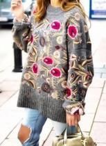 Round Neckline Floral Regular Sweaters