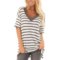 V-Neck Striped Short-Sleeved T-Shirt