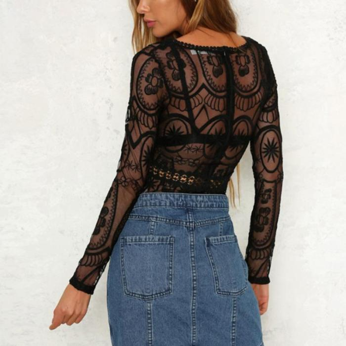 Sexy V-Neck Lace One-Piece T-Shirt