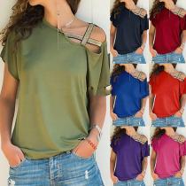 Casual Pure Color Irregular Short Sleeve Shirt