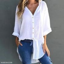 Lapel V Neck Button Plain Roll-Up Sleeves Lace Up Blouses