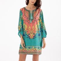Bohemian Printed Tassel Lace Up Casual Dress