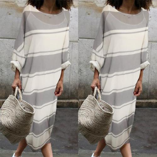 Cotton Round-Neck Stripe Two Pieces Maxi Dress