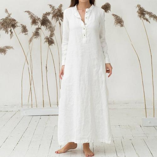 Womens Kaftan Long Sleeve Split Plain Cotton Maxi  Dress
