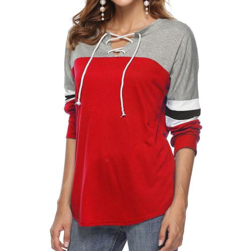 Stylish Casual Contrast Stitching Straps Long Sleeve Blouse