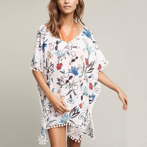 V Neck Floral Printed Tassel Casual Dress