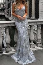 Spaghetti Strap Lace-Up Glitter Plain Evening Dress