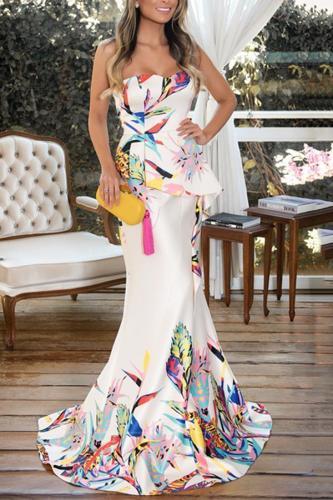 Fashion Floral Plunge Ruffles Layered Hem Fishtail Maxi Evening Dress