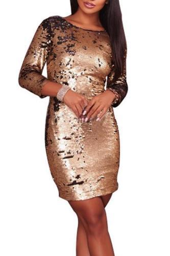 Gold Sequins Slim Party Evening Dress