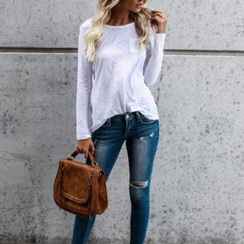 Round Neck Pocket Plain T-Shirts