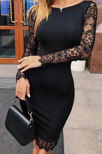 Sexy Lace Splicing Round Neck Bodycon Dresses