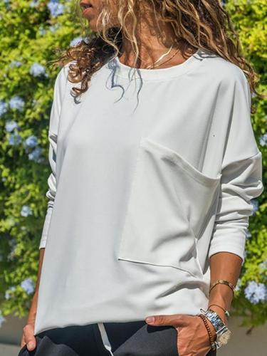 Casual Big Pocket Long Sleeve T-Shirt
