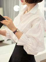 Casual Pure Color Long   Sleeve Shirt With Bubble Sleeves