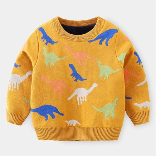 Boys Casual Knitted Cartoon Sweater