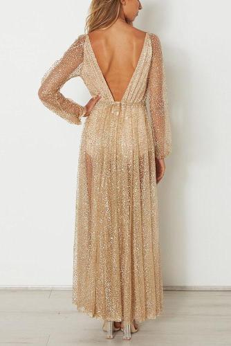 Sexy Deep V Long-Sleeved Evening Dress