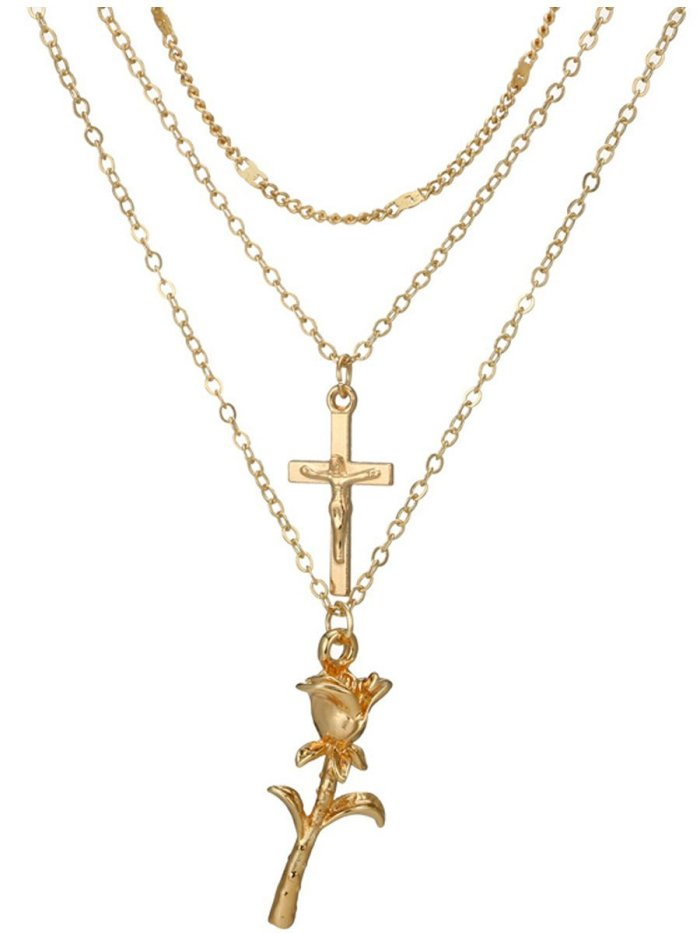 Cross Rose Pendant Necklace