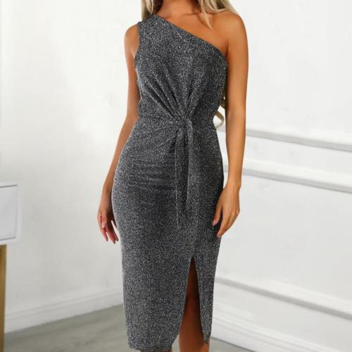 Sexy Sloping Shoulder Belted Slit Bodycon Dresses