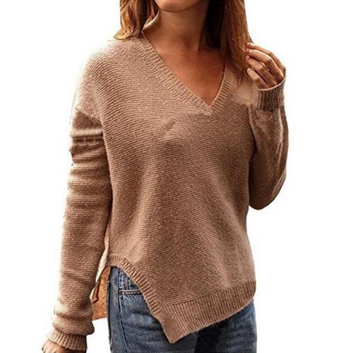 Split V-Neck Long Sleeve Irregular Sweater