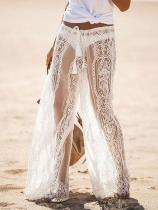 Elegant Lace See Through Casual Pants