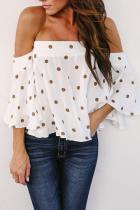 Off Shoulder  Polka Dot  Blouses