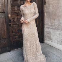 Fashion Plain Slim Long Sleeve Maxi Dresses