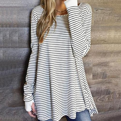 Fashion Round Neck Stripe Loose T Shirts