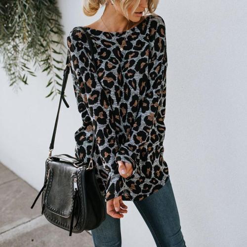 Sexy Halter Leopard Print Long-Sleeved T-Shirt