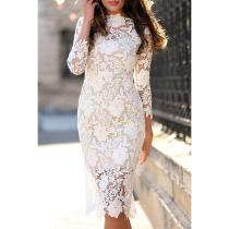 Round Neck  Slit  Hollow Out Lace Bodycon Dresses