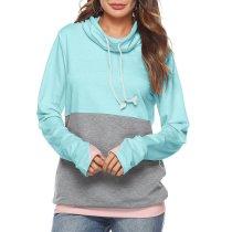 Long Sleeve Stitching Hoodless Sweater