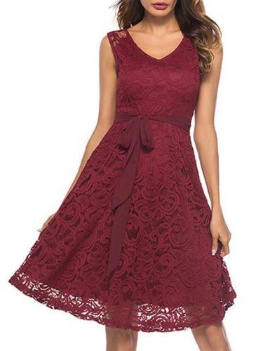 Elegant V Neck Bowknot Lace Dress