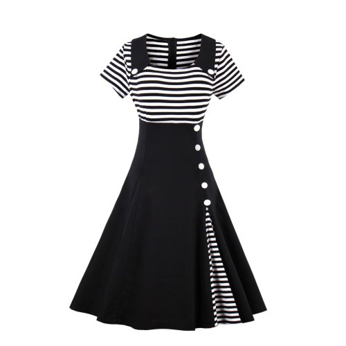 Stripes Vintage Retro Style Swing Cocktail Dress
