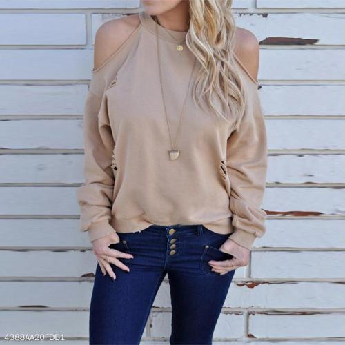 Round Neck Fashion Hollow Out Long Sleeve Plain T-Shirts
