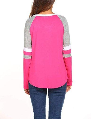 Fashion V Neck Patchwork Long Sleeve T-Shirts