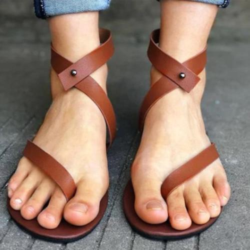Plain Flat Ankle Strap Peep Toe Casual Gladiator Sandals