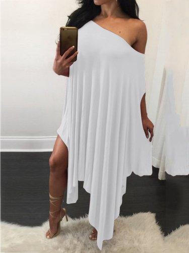 One Shoulder Asymmetric Hem Plain Shift Dress