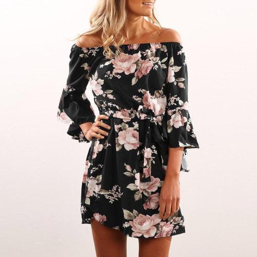 Printing Flower Off Shoulder Casual  Dress