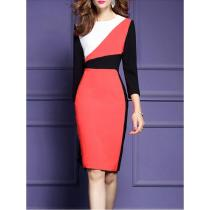 Crew Neck  Color Block  Blend Bodycon Dresses