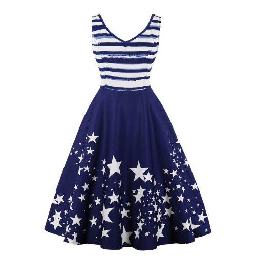Retro Stripe Printed Hepburn Dress Sleeveless Dress
