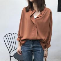 Casual Simple Pure   Color Stand Collar Loose Shirt