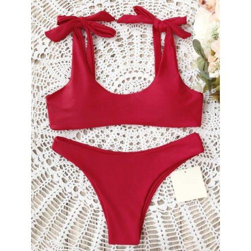 Sexy Pure Color Bow-Knot Bikini Swimwear