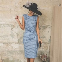 Wave Point Sleeveless Elegant Bodycon Dress