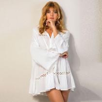 Deep V Neck  Patchwork Plain  Long Sleeve Casual Dresses