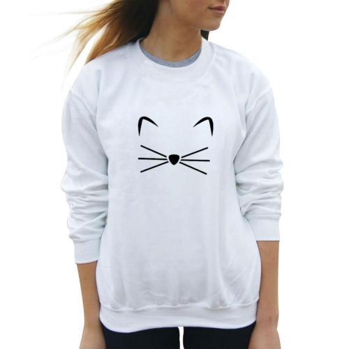 Cute Style Kitten Pattern Long Sleeve Sweatshirt