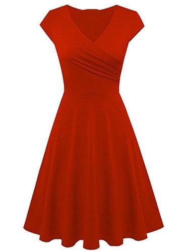 Solid Color Surplice Plain Skater Dresses