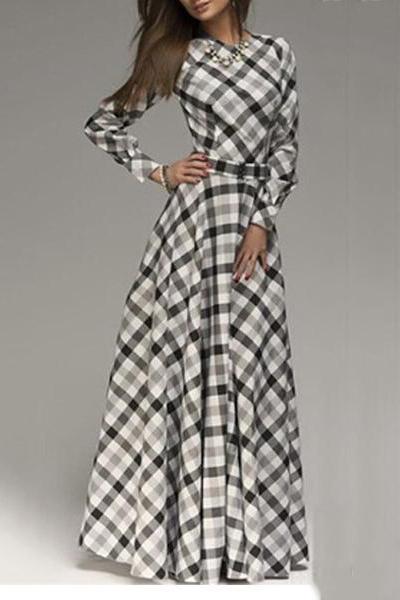 Plaid Long Evening Dress
