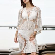 Embroidered Lace Perspective Bikini Blouse