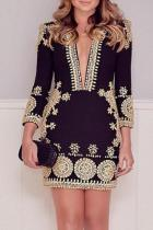 Deep V Neck  Printed Bodycon Dresses